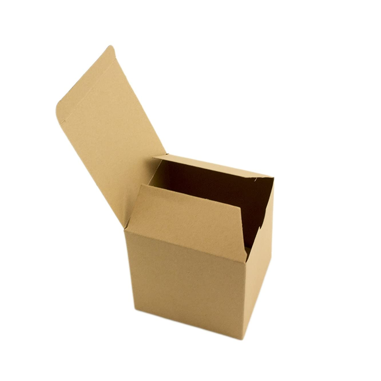 Adorox 50 Pack 3 x 3 x 3 Kraft Boxes Cardboard Gift Box with Lids for Wedding Birthday Holiday Baby Shower Favor (BROWN, 3 X 3 X 3)