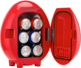Smad Portable Mini Fridge Personal 6-Can Beverage Refrigerator Car Cooler/Warmer 12V/110V, Red