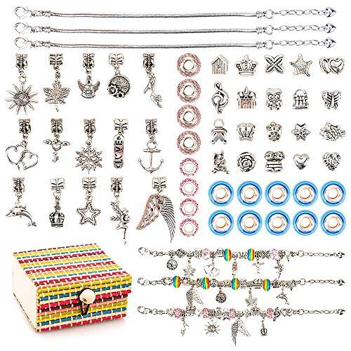 Jewelry Making Kit for Kids Girl, Birthday Gift for Girls Age 6 7 8 9 Kids Toy DIY Charm Bracelet Kit for 8-12 Year Old Girls Kid Art Crafts Set Toy Bracelet Present for 5-9 Year Olds Girl Children