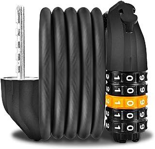 Candado Bicicleta[1.2m x12mm],Candados de Cadena para Bicicletas Antirrobo ,Candado de Cable Combinación de 5 dígitos con Soporte de Montaje Seguridad antirrobo para Bici/Moto