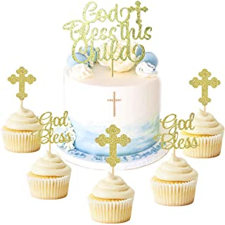 JeVenis 25 PCS Glittery God Bless this Child Cake Topper Baptism Cupcake Toppers Cross Cupcake Topper Baptism Party Decorations