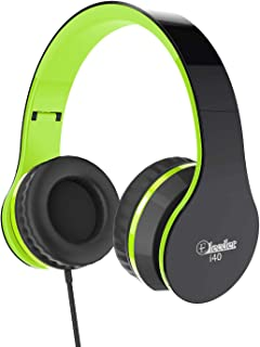 Elecder i40 Headphones with Microphone Foldable Lightweight Adjustable Wired On Ear Headsets with 3.5mm Jack for iPad Cellphones Laptop Computer Smartphones MP3/4 Kindle Airplane School (Green/Black)