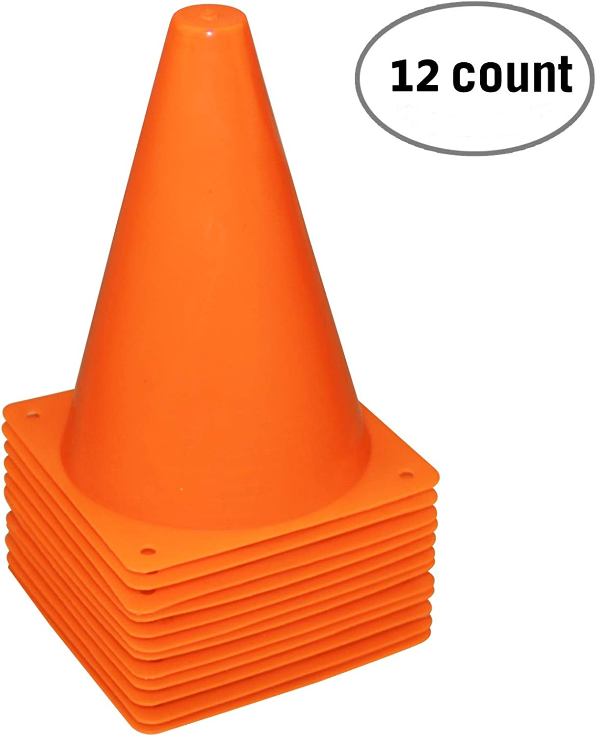 7.5-Inch Training Traffic Cones   Mini Agility Marker Cone for Kids   Safety Plastic Cones for Soccer Football Sport - (Set of 12 orange)