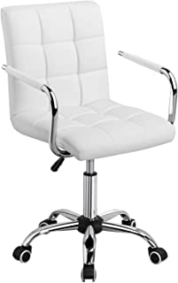 Yaheetech White Desk Chairs with Wheels/Armrests Modern PU Leather Office Chair Midback..