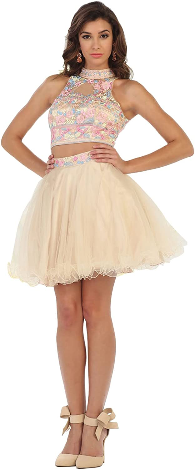 May Queen MQ1418 Embroidered Two Piece Prom Dress