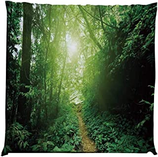 YOLIYANA Landscape Durable Square Chair Pad,A Way in The Jungle of Malaysia Rainforest Fresh Grass Trees Rural Morning Scenery for Bedroom Living Room,One Size