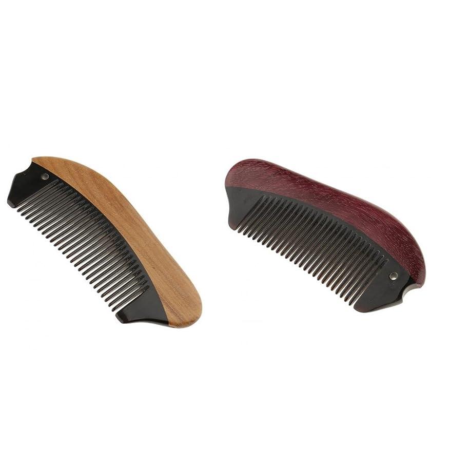 注釈太字代表団CUTICATE 2本牛角木製細かい歯の非静的な頭皮マッサージポケットくし