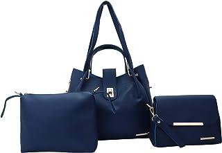 Lapis O Lupo Women Fashion Synthetic Leather Handbags Shoulder Top Handel Bag Sing bag & Pouch 3pcs Set…
