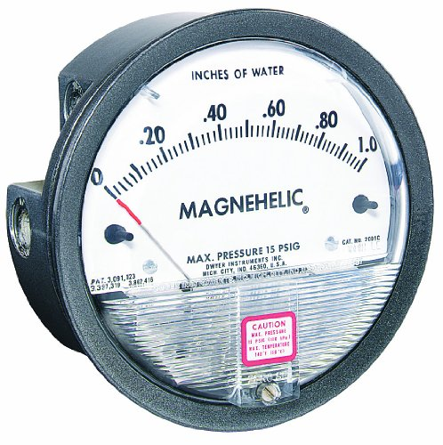 "Dwyer Magnehelic Series 2000 Differential Pressure Gauge, Range 0-25""WC"