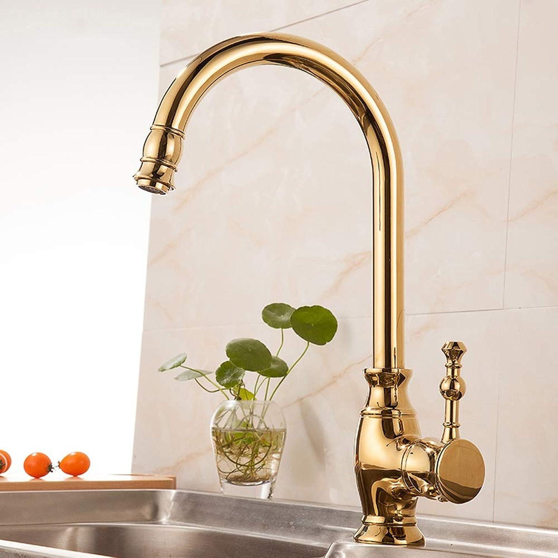 AmzGxp European Style Faucet gold Antique European Kitchen Sink Faucet Hot And Cold Copper Sink Kitchen Faucet