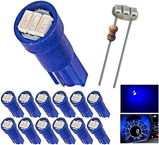 12pcs T5 74 Wedge 3-SMD LED Lights Instrument Panel Indicator Bulb Gauge Cluster Lamps Blue