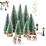 WELLXUNK Mini Árbol Navidad Artificial, Sisal Mini Árboles Navidad, 9 Pcs Árbol de Navidad Artificial, Base de Madera Árbol de Navidad Pequeño para Decoración de Mesa Manualidades Navideñas