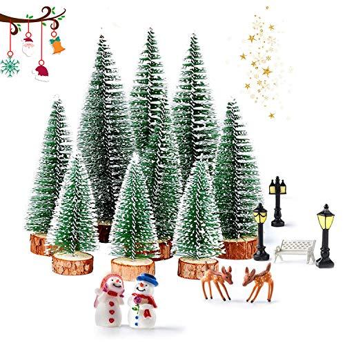 WELLXUNK® Mini Arbre Noël, Mini-Sapin De Noël en Sisal, 9 pcs Mini Arbre de Noël, Socle en Bois Sapin Noel Miniature, Sapin Noël Artificiel Decoration Table Chambre Maison Décoration fêtes