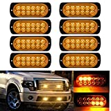 LED Strobe Emergency Lights, DIBMS 8x Amber Yellow 12 LED Surface Mount Strobe Warning Emergency Flashing Light Caution Construction Hazard Light Bar For Car Truck Van Lorry Off-Road Vehicles SUV