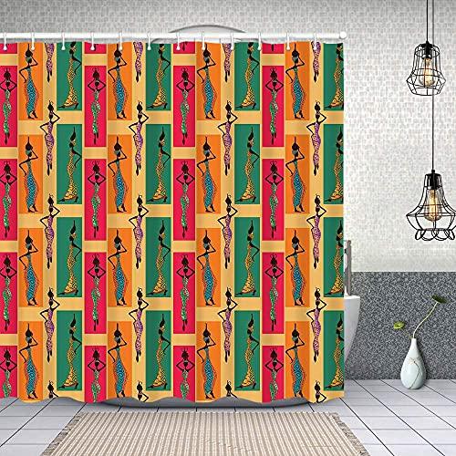 Cortina de Baño con 12 Ganchos,Señoras posando con jarrones gráficos de inspiración nativa marroquí,Cortina Ducha Tela Resistente al Agua para baño,bañera 150X180cm