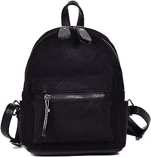 Mini Backpacsk Small Bag Women Shoulder Bag Solid Faux Suede Back Pack Winter Velvet Travel,Black