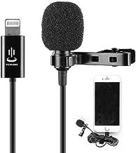 Microphone Professional for iPhone Grade Lavalier Lapel Omnidirectional Phone Audio Video Recording Lavalier Condenser Microphone for iPhone X Xr Xs max 8 8plus 7 7plus 6 6s 6plus 5 / iPad(1.5m)