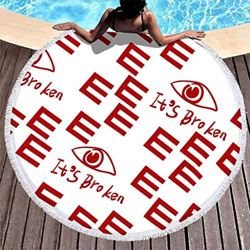 Manta de toalla de playa grande de felpa, con borla de mandala, esterilla de yoga, gruesa de alta resistencia de color, redonda de 59 pulgadas D con