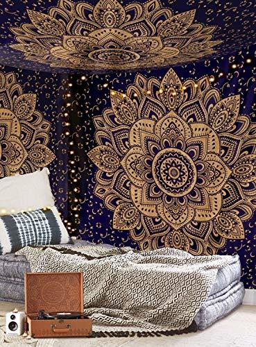 Aakriti Gallery Baumwolle Mandala Wandteppich Wandbehang - Böhmische Tagesdecke, Boho Decke / Überwurf Wandteppiche für Wohnzimmer, Wohnkultur (blau Golden, 235 x 210 cm)