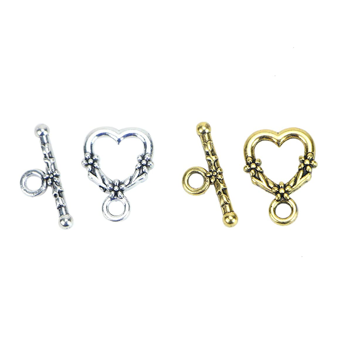 Monrocco 40 Sets Alloy Heart Toggle & TBar Clasps DIY Jewelry Making Bracelets (Antique Silver & Antique Golden)