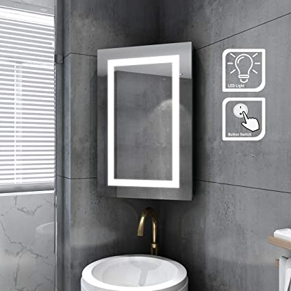 Elegant 450 X 700mm Back Lit Led Bathroom Corner Mirror Cabinet With Lights Button Switch Illuminated Bathroom Mirrors For Makeup Cosmetic Shaving Amazon Co Uk Home Kitchen