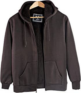 Leehanton Men's Sherpa Lined Heavyweight Fleece Hoodies Full Zip Big & Tall Sweatshirts Jackets Size S-5XL
