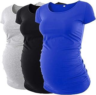 ليو & كيو المرأة الأمومة بلايز 3 حزم الكلاسيكية الجانب Ruched قصيرة الأكمام قمصان الحمل