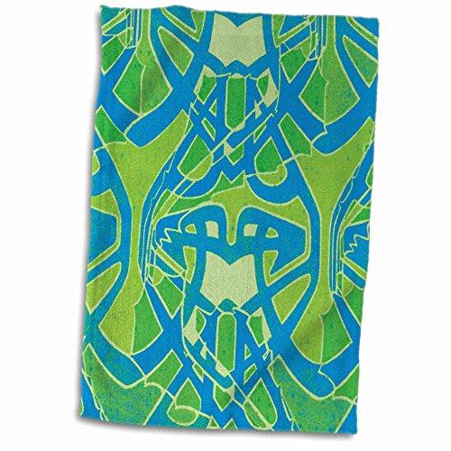 Hand-/Sporthandtuch, 3D-Rose, Vintage-Stil, Motiv keltische Knoten, abstraktes Design, 38 x 56 cm, Grün/Blau