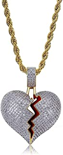 Bubble Broken Heart Pendant Necklace 14K Gold Plated Lab Diamond Iced Out Chain for Men Women