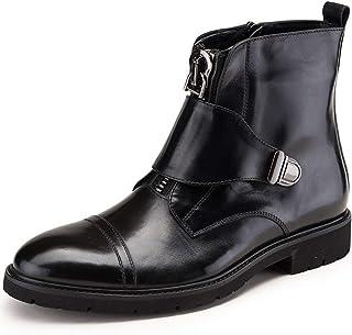 FIESSO Bottine for Les Hommes Botte de Travail Prime en Cuir véritable Pull Style Style Solides Couleurs Bout Rond Zipper ...