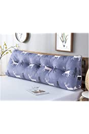 100X50cm,Blue Reading Pillows modern Simple No-Headboard Backrest Cloth Soft Case Cover Double Pillow Large Backrest Bed Cushion Washable