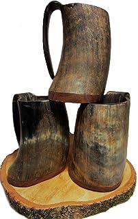 Taza de cuerno vikinga, taza para hidromiel, taza de cuerno, vikingo, Edad Media, taza, cuerno auténtico 0,3 - 0,7l, multicolor, 300-500 ml