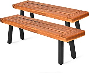 Giantex Set of 2 Outdoor Bench, Acacia Wood Patio Seating, Dining Benches for Garden, Lawn, Farmhouse and Entryway with Metal Legs, Rustic Brown and Black (2)
