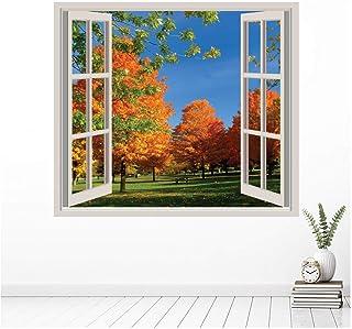 azutura Árboles de otoño 3D Ventana Vinilos Paisaje Pegatina Decorativos Pared Dormitorio Decoración Disponible en 8