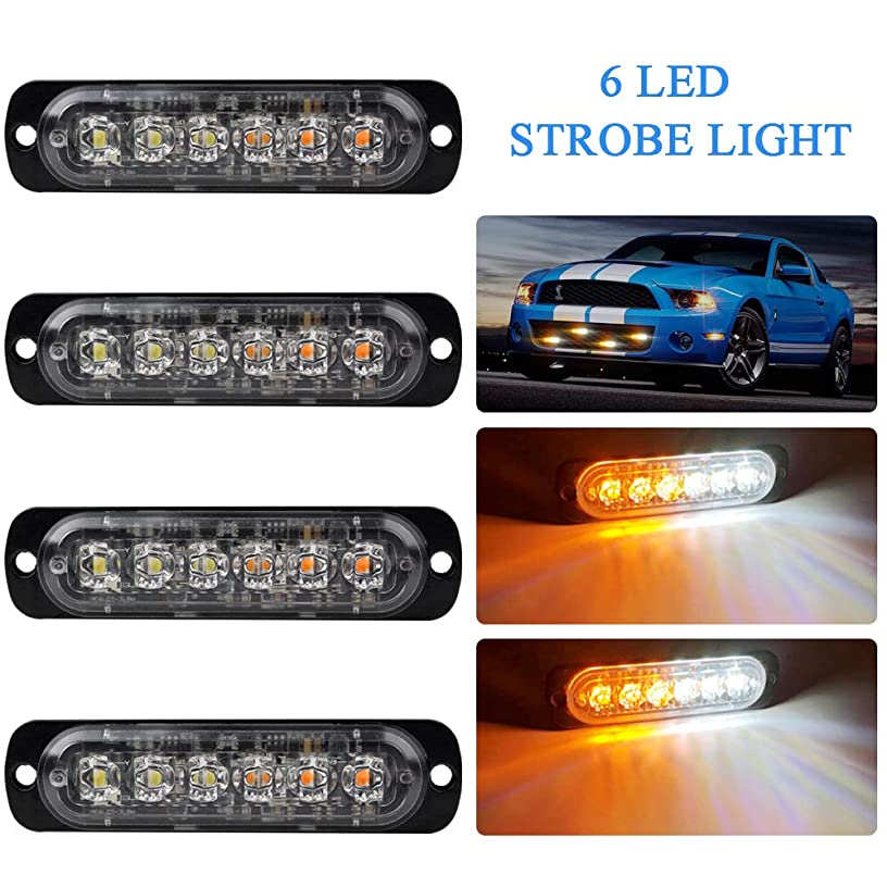 4pcs Ultra Thin 6LEDs Amber&White Warning Emergency Flashing Strobe Light Bar Surface Mount for all Vehicle car,Truck,Trailer,Van,Motorcycle 12-24V