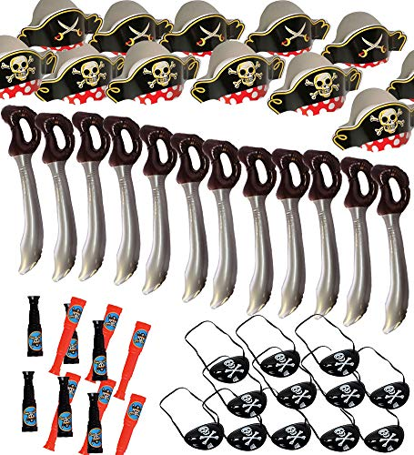 Funny Party Hats Pirate Party Set – Pirate Birthday Party – Pirate Supplies - 12 Pirate Hats, Patches, Swords, Telescopes