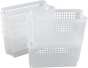Xowine Clear Small Stacking Storage Basket, 6-Pack Slim Stackable Tray Basket