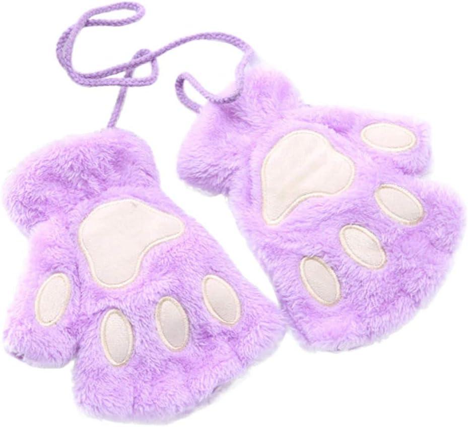 FASGION 2019 Winter Lovely Women Bear Cat Claw Paw Mitten Plush Gloves Short Finger Half Gloves Ladies Half Cover Female Gloves (Color : Purple, Gloves Size : One Size)