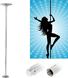 Topeakmart Fitness Stripper Pole Exercise Dancing Pole Spinning & Static 45mm Home Dance Pole Adjustable Height 92.5-108.3in
