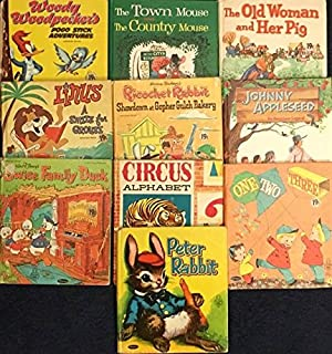 Vintage Set of Ten Whitman Tell-A-Tale Hard Covers (Woody Wo-odpecker's Pogo Stick Adventures; The Town Mouse and the Country Mouse; The Old Woman and Her Pig; Linus a Smile For Grouse; Ricochet Rabbit Showdown at Gopher Gulch Bakery; Johnny Appleseed; Swiss Family Duck; Circus Alphabet; One Two Three; Peter Rabbit)