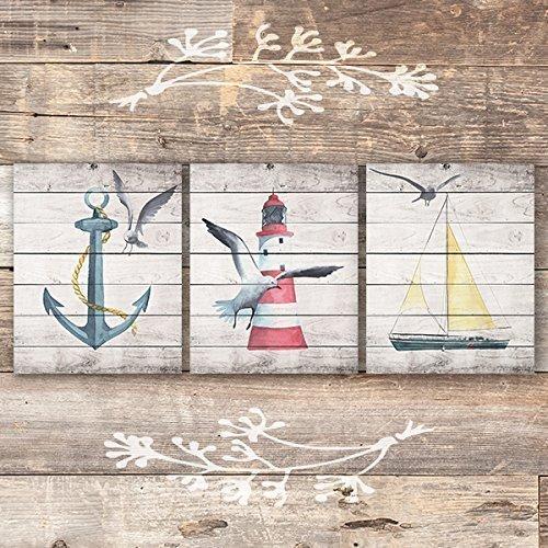 Beach Wall Decor Art Prints (Set of 3) - Unframed - 8x10s