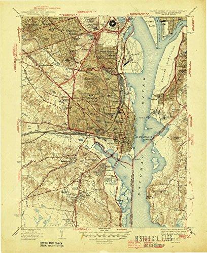 YellowMaps Alexandria VA topo map, 1:31680 Scale, 7.5 X 7.5 Minute, Historical, 1945, 20.6 x 16.8 in - Polypropylene