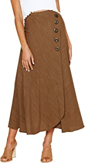 Women's High-Waisted Casual A-line Pleated Buttoned Tie up Split Long Maxi Skirts for Women
