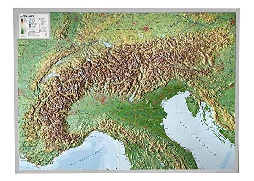Relief Alpen 1:1.2MIO mit Aluminiumrahmen