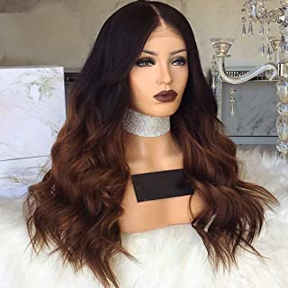 Ombre Brown Wig Dark Roots Glueless Lace Front Wig With Baby Hair Heat Resistant Hair 24Inch Synthetic Wigs For Black Women