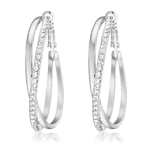 84aded194 Gemini Ladies Jewerly Platinum White Gold Big Round Hoop Swarovski Crystal  Pierce Earring Sz 5cm Silver