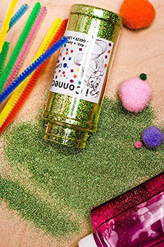 iConnectWith Glitter – Jungle Lime Green, Extra Fine Holographic Glitter; Multi-use for Crafts, Decorations, Nail Art, Makeup, Tumblers, Resin Art, and DIY Projects