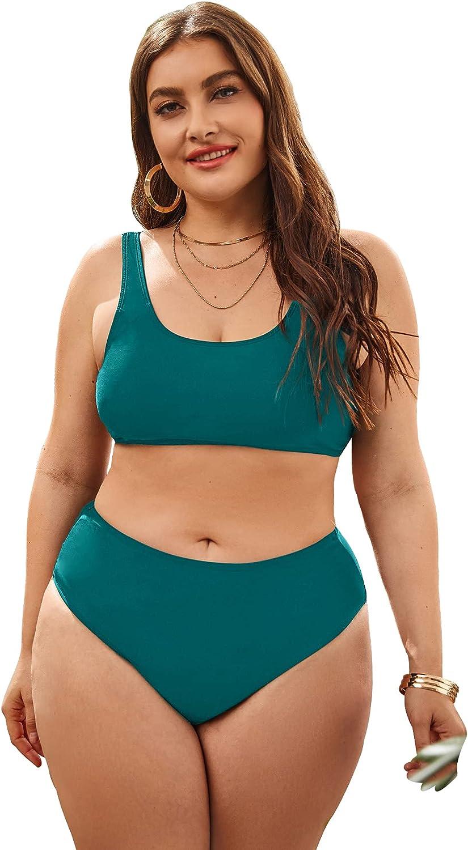 Milumia Women 2 Piece Plus Size High Waist Bikini Set Scoop Neck Sexy Swimsuit Bathing Suit