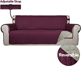 PureFit Reversible Quilted Sofa Cover, Spill, and Water Resistant Slipcover Furniture Protector, Washable Couch Cover with Non Slip Foam and Adjustable Strap for Kids, Pets (Sofa, Wine/Beige)
