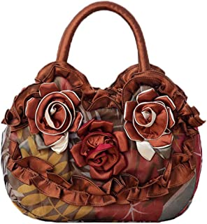 Fanspack Womens Small Handbags Embroidery Flower Canvas Tote Bag Purses and Handbags